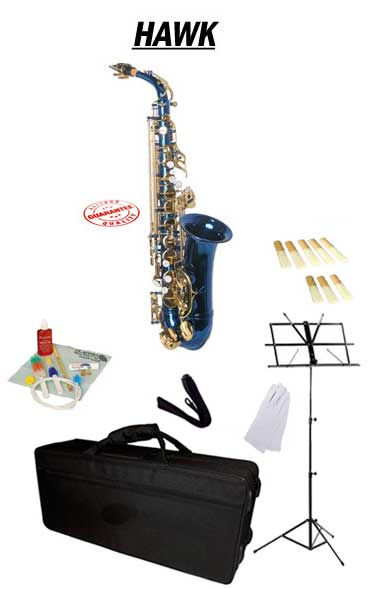 Hawk Blue Alto Saxophone School Package with Case, Reeds, Music Stand and Cleaning Kit by Hawk