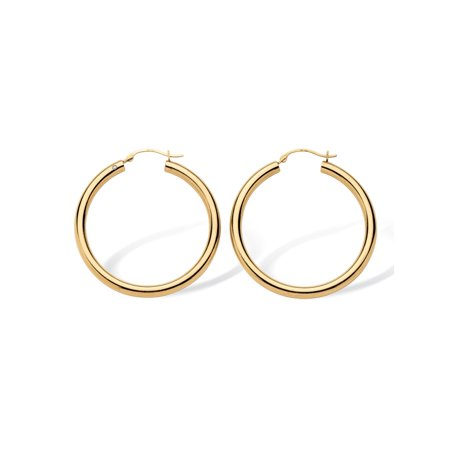 14k Yellow Gold Hoop Earrings Nano Diamond Resin Filled (1 -
