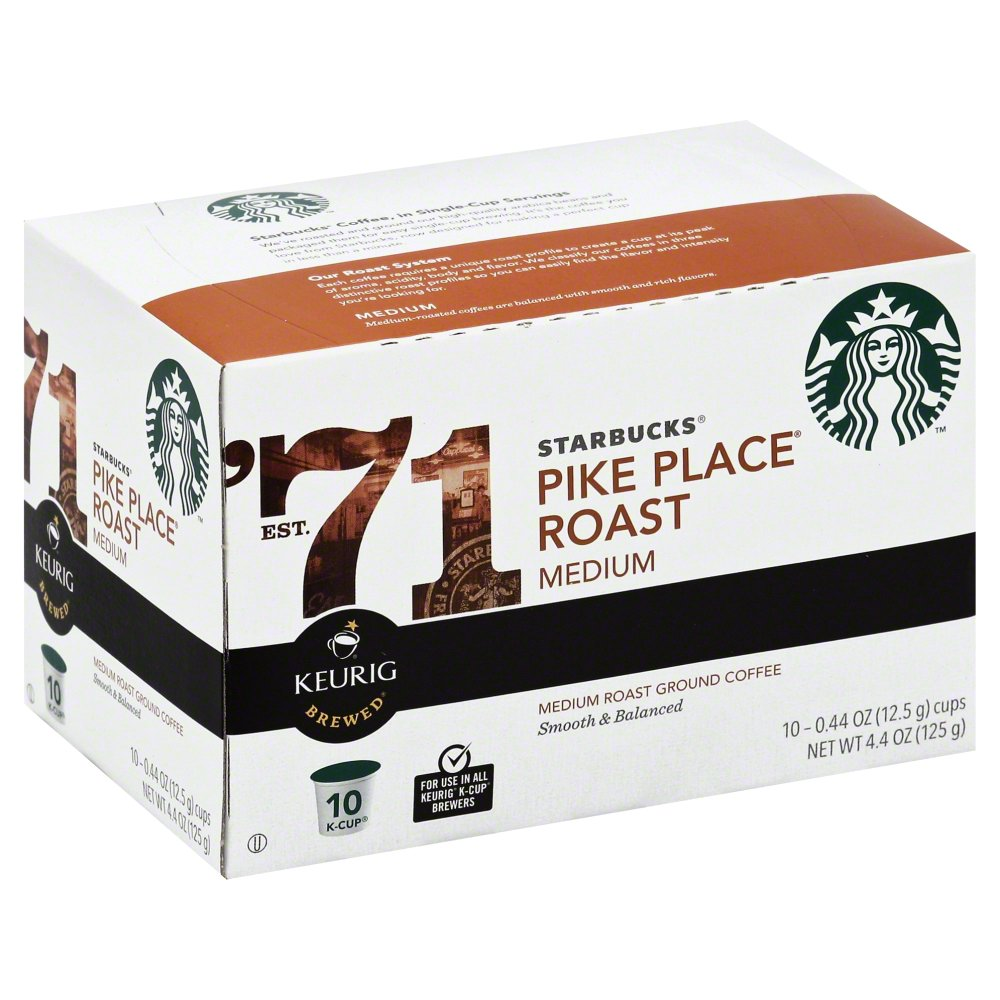 Starbucks Coffee Pike Place Roast K-Cups, 10 CT (Pack of 6)