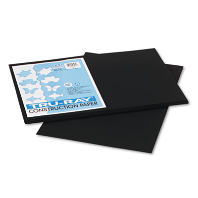 Tru-Ray Construction Paper, 76 lbs., 12 x 18, Black, 50 Sheets/Pack, Sold as 1 Package, 50 Sheet per Package