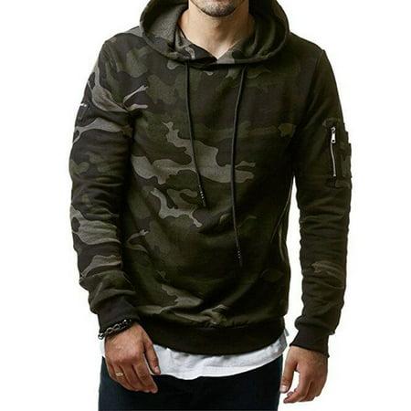 Men's Fleece Warm Hoodie Hooded Camouflage Sweatshirt Pullover Coat Camo Hooded Pullover
