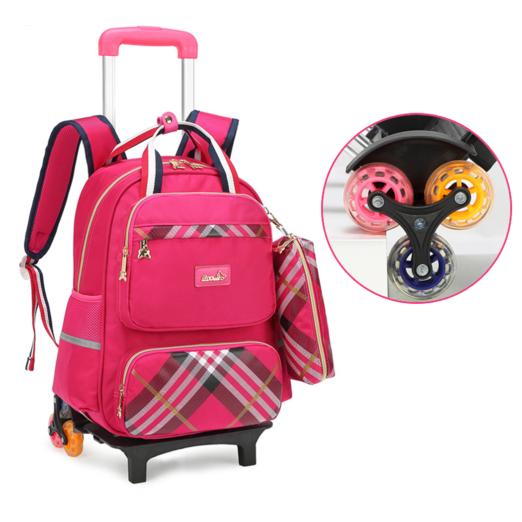 Kids Rolling Backpack, Coofit Practical Large Capacity Luggage Wheels Backpack School Backpack with Pencil Bag for Girl Student