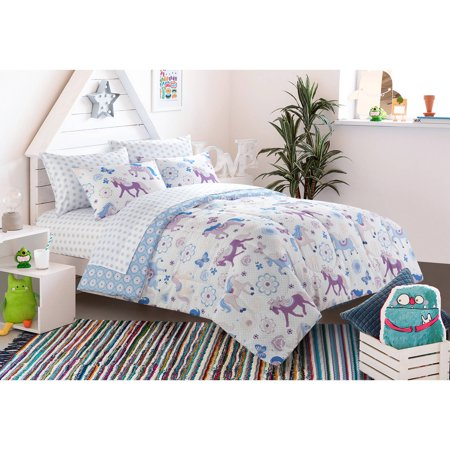 full size set bedding mainstays kids pretty horses bed in a bag bedding set new ebay. Black Bedroom Furniture Sets. Home Design Ideas