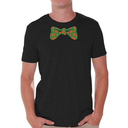 Awkward Styles St. Patrick's Day Bow Tie Shirt for Men Men's Irish Tuxedo Bow Tie Tshirt Irish Party T Shirts for St. Paddy's Day Lucky Clover Gifts for Him Irish Clover Bow Tie Shirts Irish Holiday (St Patricks Day Bow)