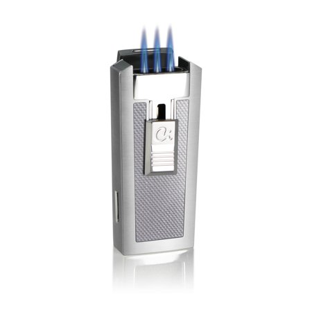 Caseti  Tripolis Triple Jet Flame Cigar Lighter - White Carbon Fiber (Ships Degassed)