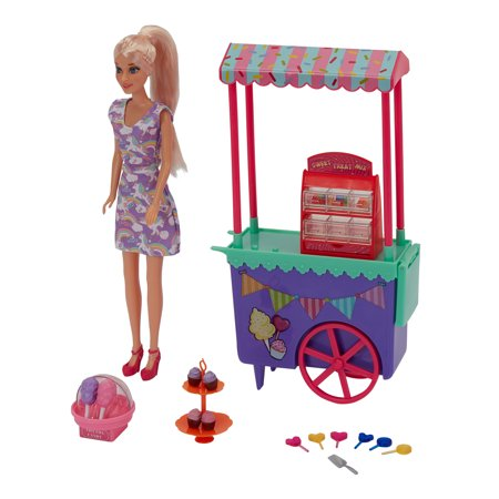 Kid Connection Sweet Treats Stand with Doll, 27 Pieces