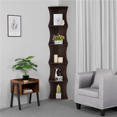 5-Tier Corner Shelf Stand Display Bookshelf