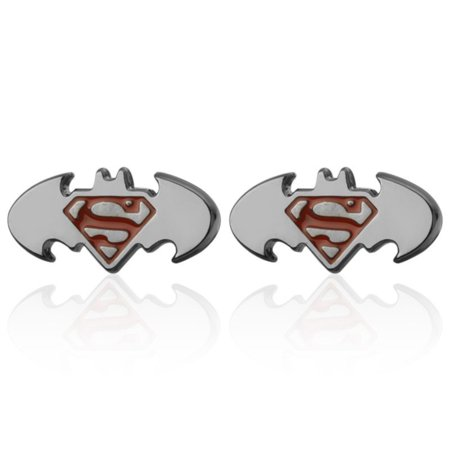 - Batman Superman Symbol Cufflinks Silvertone Anti-Tarnish Superhero Jewelry, CL-15