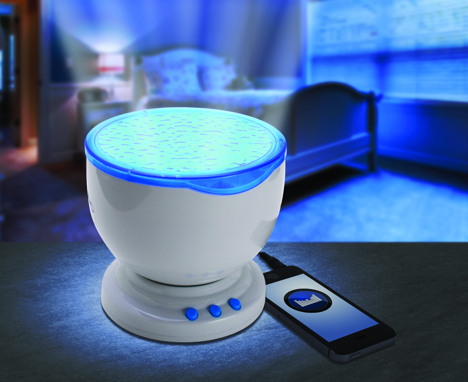 Ocean Wave Nightlight LED Light Projector With Music Player 4 Color Modes