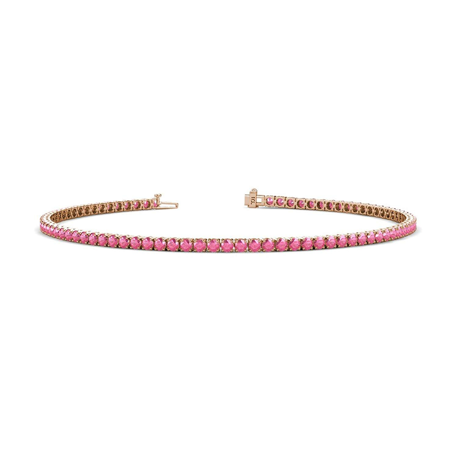 Pink Tourmaline 2mm 4-Prong Tennis Bracelet 1.43 cttw in 14K Rose Gold by TriJewels