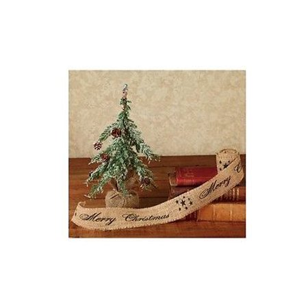 merry christmas burlap ribbon with black writing 2 x 10 by country