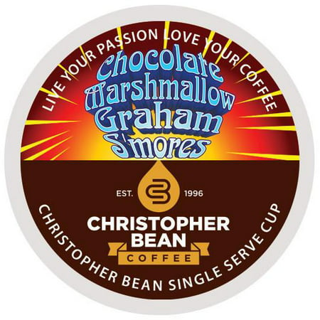 Chocolate Marshmallow Graham Smores Single Cup Coffee Christopher Bean Coffee K Cup, For Keurig Brewers (18 Count Box)