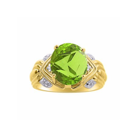 Diamond & Peridot Ring Set In Yellow Gold Plated Silver - 12 X 10MM Color Stone Birthstone Ring DSL-LR7283PEY