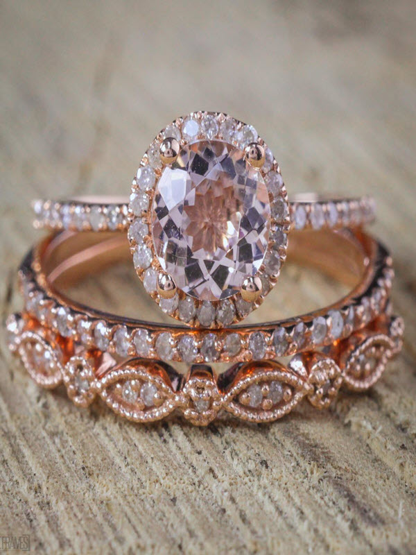 Sale 2 carat Antique Milgrain Round Morganite and Diamond Trio Ring