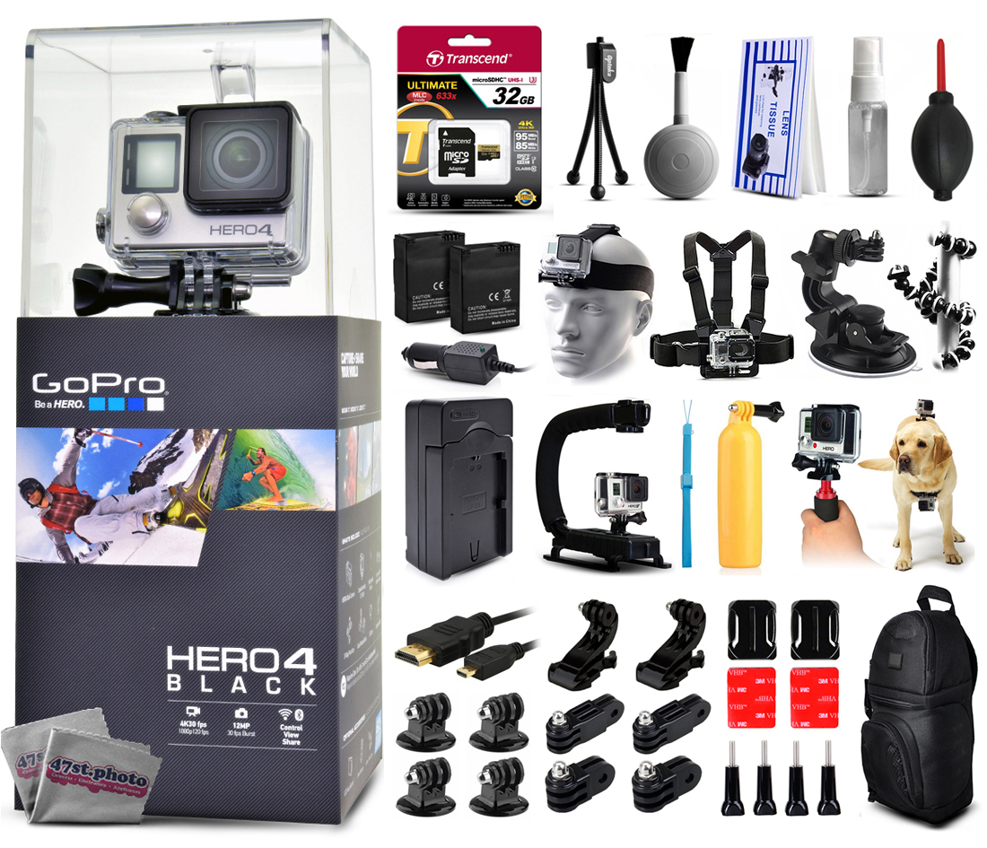Buy GoPro Hero 4 HERO4 Black Edition CHDHX-401 with 32GB Card + Cleaning Kit + 2 Batteries + Travel Charger + X-Grip... by GoPro