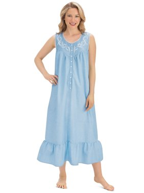 Product Image Women s Floral Embroidered Chambray Cotton Pajama Lounger  Sleeveless Nightgown. Collections Etc. Product TitleWomen s Floral ... 39c005ac8