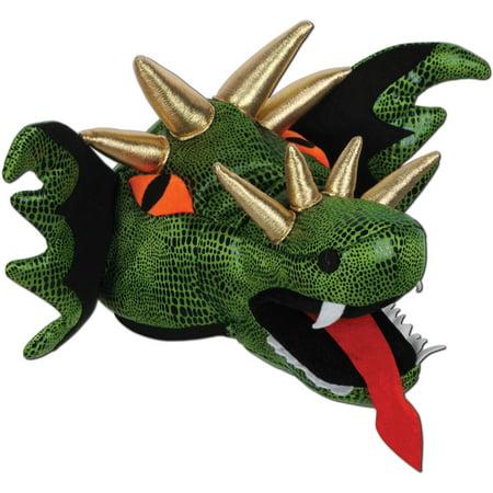 Unisex Animal Hat Plush Green Dragon Head Hat Costume Accessory