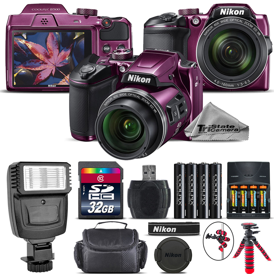 Nikon COOLPIX B500 Digital Camera (Plum) - Kit B