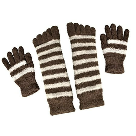 Peach Couture Winter Warm Striped Fuzzy Toe Socks and Gloves Pack (Brown) - image 1 of 1