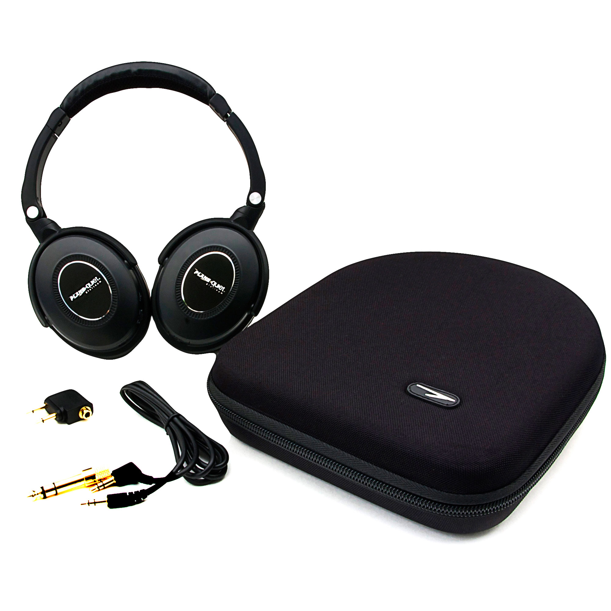 NEW! Solitude Plane Quiet Platinum Over-Ear Noise Cancelling Headphones For Home or Travel - Compatible with IPad, IPhone, Android, MP3, CD, DVD, Computers, and More - 35 Hour Battery Time Wired Black