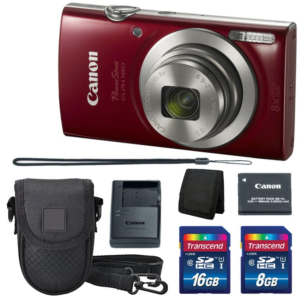 Canon PowerShot Elph 180 Camera 20MP + 2 Memory Cards + Case + Wallet