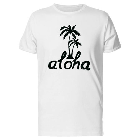 Aloha With Black Palm Trees Tee Men's -Image by