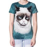 Blue Cotton Grumpy Cat Design Novelty Parody Womens T-Shirt NEW