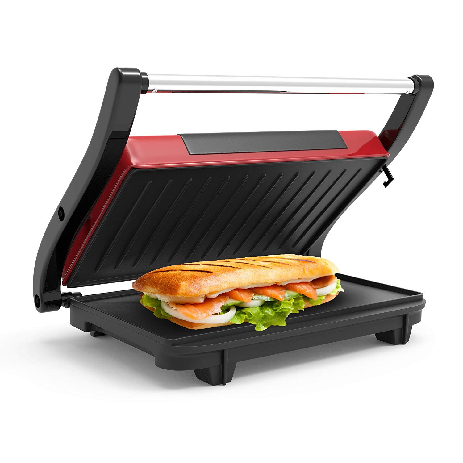 Panini Press Indoor Grill and Gourmet Sandwich Maker With Nonstick Plates (Red) by, MULTI-RECIPE HEALTHY COOKING- Healthier meals are a possibility with the advanced.., By Chef Buddy