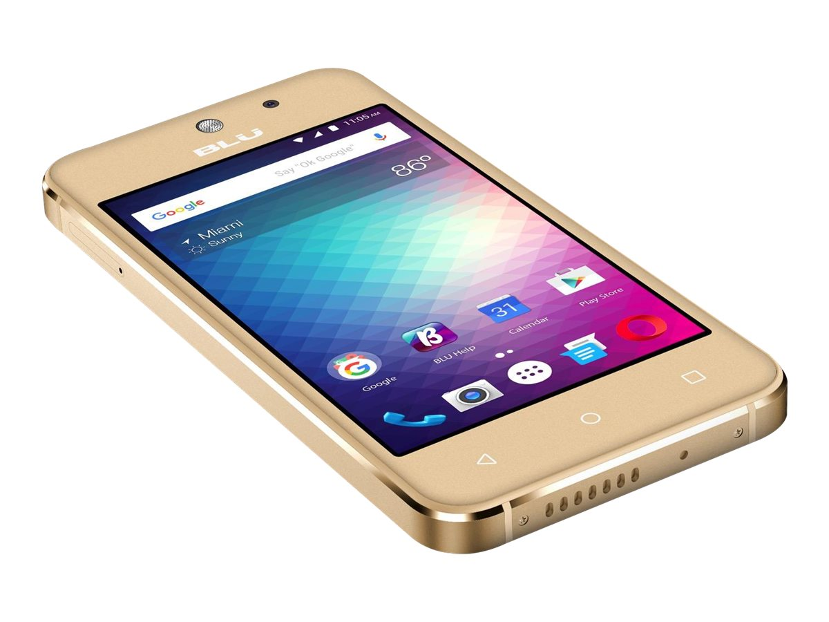 "BLU Vivo 5 Mini - Smartphone - dual-SIM - 3G - 8 GB - microSDXC slot - GSM - 4"" - 800 x 480 pixels (233 ppi) - IPS - RAM 512 MB - 5 MP (3.2 MP front camera) - Android - gold"