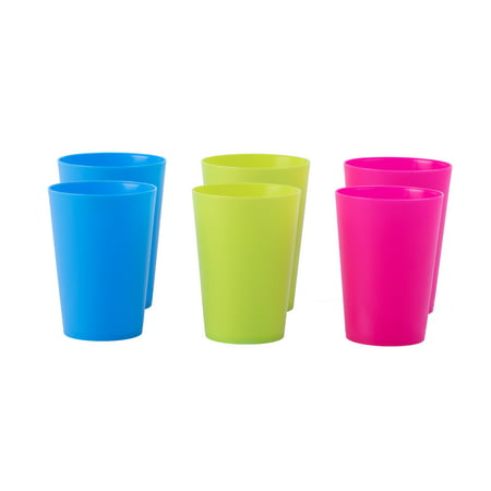 Plastic Reusable Cups 7 OZ Set of 6 (2 Red, 2 Green, 2