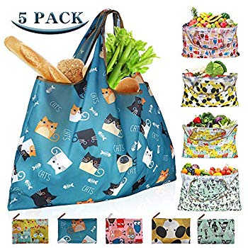 Reusable Shopping Bags Foldable Washable 55LBS XX-Large Grocery Bags Heavy Duty Cloth Shopping Bags Tote Eco-Friendly Ripstop Waterproof Fits in Pocket, 5-Pack Cute Cat Dog Owl Cactus Printing Reusable Shopping Bags Foldable Washable 55LBS XX-Large Grocery Bags Heavy Duty Cloth Shopping Bags Tote Eco-Friendly Ripstop Waterproof Fits in Pocket, 5-Pack Cute Cat Dog Owl Cactus Printing