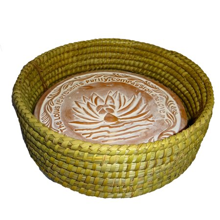Handwoven Bread Roll Basket w Lotus Terracotta Warming Tile Stone 11 Inch Width (Natural) (Natural Terra Cotta Tile)