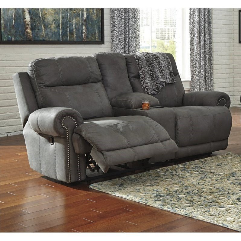 Ashley Austere Reclining Faux Leather Console Loveseat in Gray by Ashley Furniture