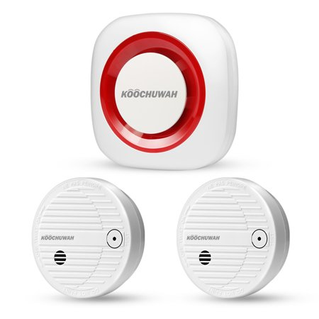 Wireless Smart Home Security Alarm System with Smoke Detectors, Wireless Fire Smoke Detectors Remote Monitoring by Phone SMS, Free SIM Card