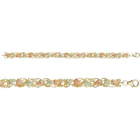 Black Hills Gold Black Bracelet (Black Hills Gold 10kt Yellow Gold 12kt Gold Leaf Accented Swirled Vine Bracelet,)