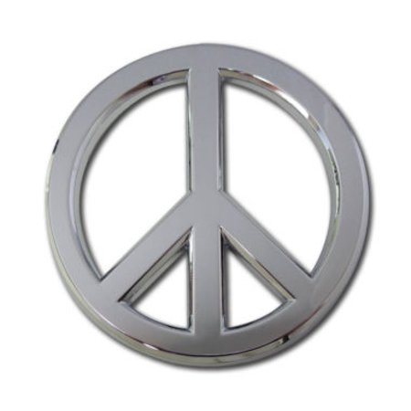 Peace Sign Chrome Emblem