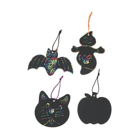 Fun Express - Magic Color Scratch Halloween Shapes for Halloween - Craft Supplies - Magic Scratch - Ornaments - Halloween - 24 - Halloween Fun Crafts