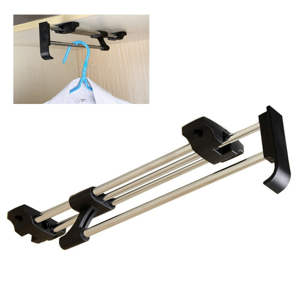 Heavy Duty Retractable Closet Pull Out Rod Wardrobe Clothes Hanger Rail Towel Ideal for Closet organizer Polished Chrome (30cm/ 11.8 Inches)