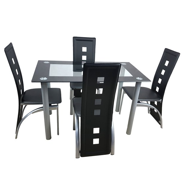 5 Piece Dining Room Table Sets, Modern Tempered Glass Dining Table Set, Heavy-Duty Kitchen Table and 4 Chairs Set, Breakfast Furniture for Dining Room, Coffee Shop, Bistro, Black, W3083