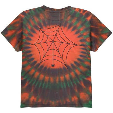 Spiderweb Halloween Orange Tie Dye Pattern Youth T-Shirt - Cool Halloween Shirts