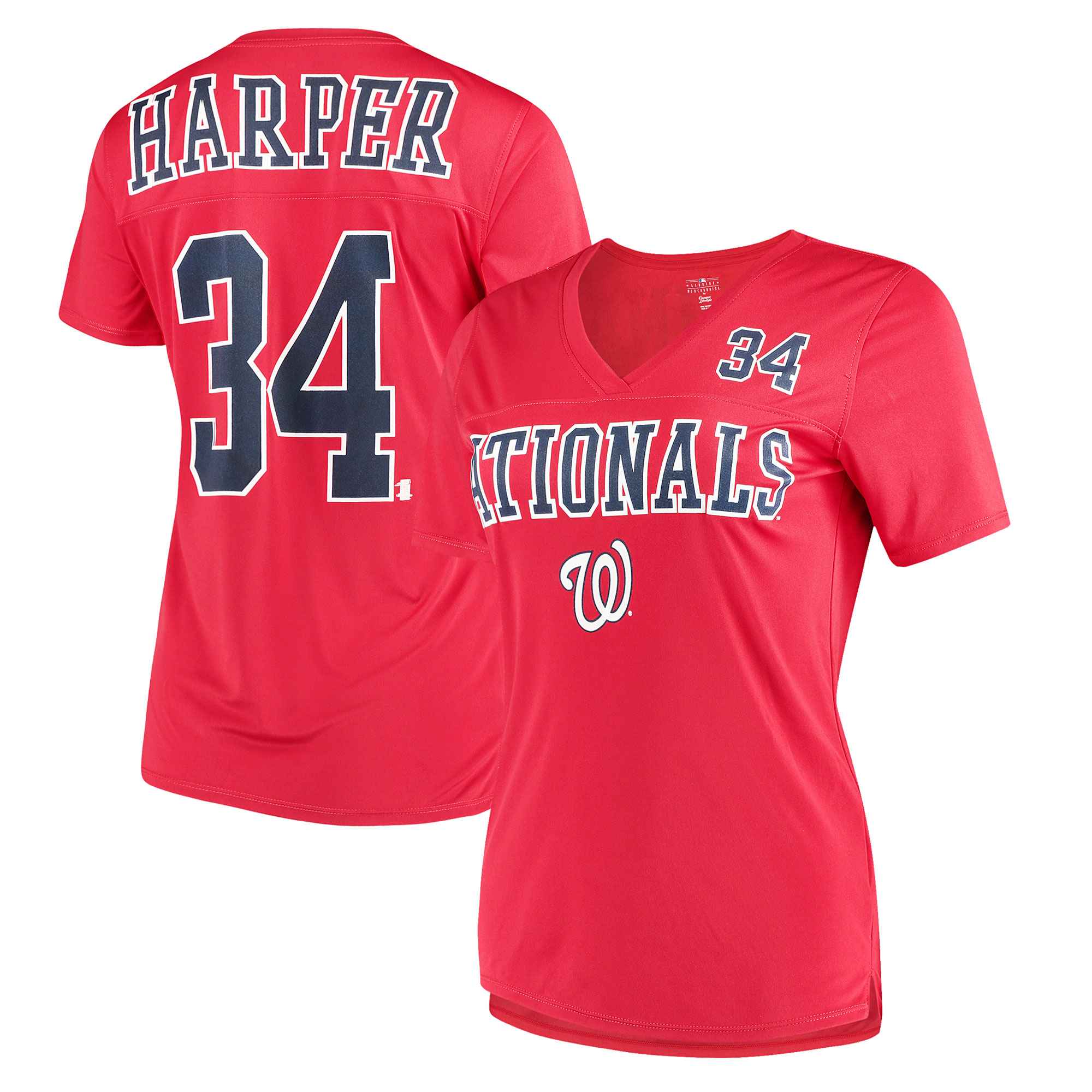 Women's New Era Bryce Harper Red Washington Nationals Name & Number T-Shirt