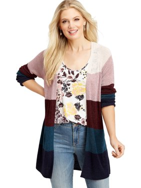Long Sleeve Striped Colorblocked Cardigan