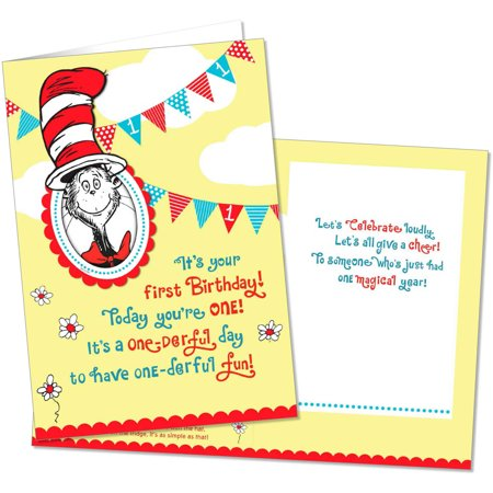 Dr Seuss Cat in the Hat First Birthday Card With Photo Holder by – Dr Seuss Birthday Card