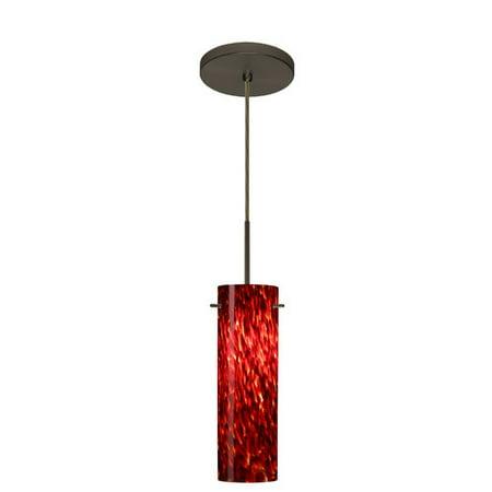 Besa Lighting 1BT-493041 Copa 1 Light Cord-Hung Pendant with Garnet Glass Shade
