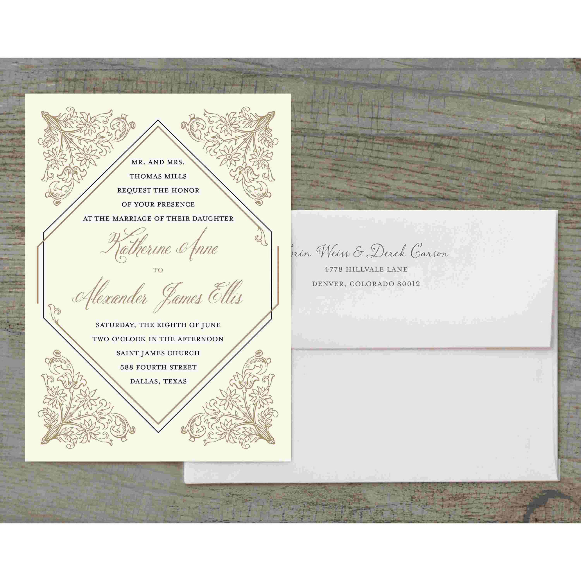 Deco Deluxe Wedding Invitation