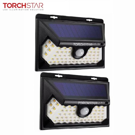 TORCHSTAR 58 LED Solar Lights, Dusk to Dawn Wireless Solar Motion Lights, for Yard, Garage, Deck, Porch, 3000K Warm White, Pack of 2