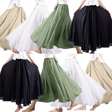 Organza Long Skirt (The Noble Collection Women Pleated Skirt Organza Mesh Elastic High Waist Tulle Long Tutu Skirt)