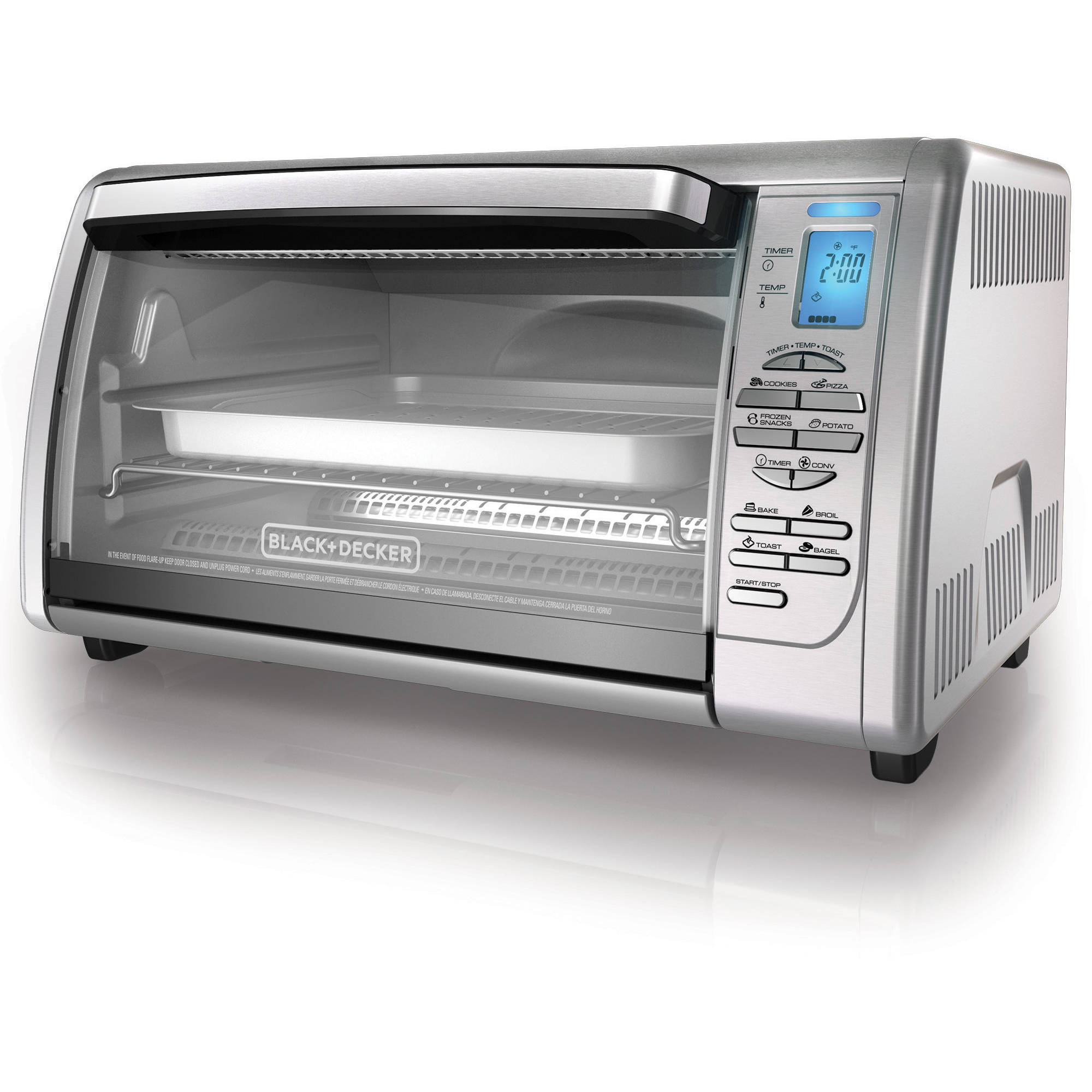 black+decker 6-slice digital convection toaster oven, stainless