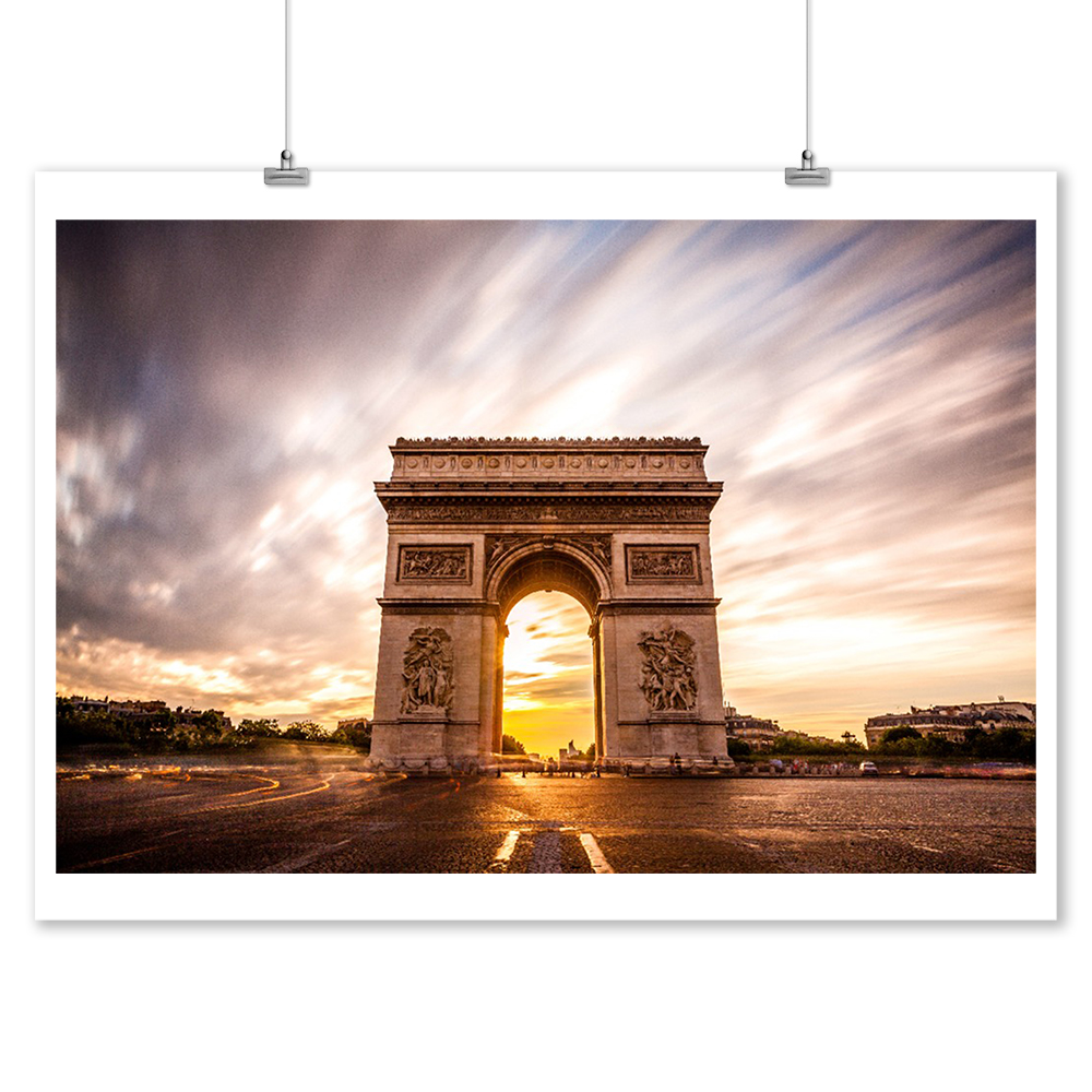 Arc de Triomphe, Paris, France - Lantern Press Photography (9x12 Art Print, Wall Decor Travel Poster)