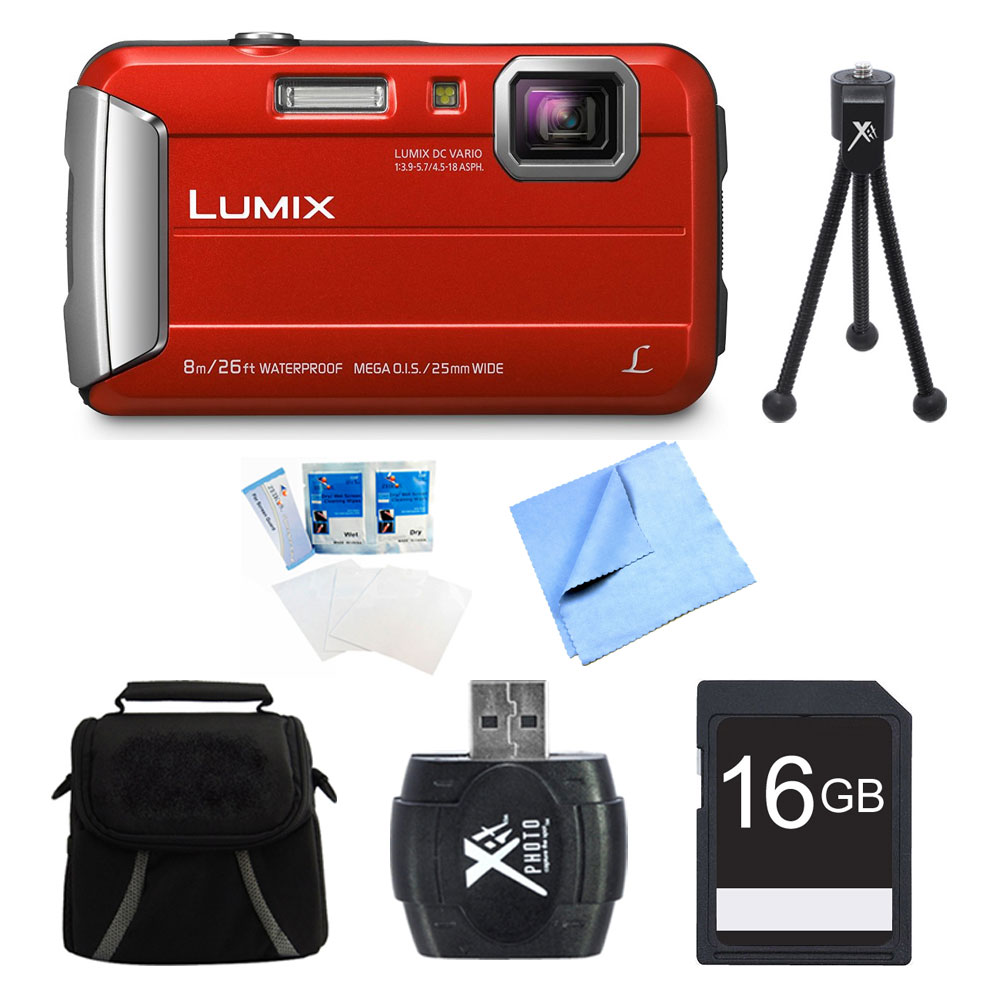 Panasonic LUMIX DMC-TS30 Active Tough Red Digital Camera 16GB Bundle - Includes Camera, 16GB Card, Compact Bag, Card Reader, Mini Tripod, Screen Protectors, and Micro Fiber Cloth
